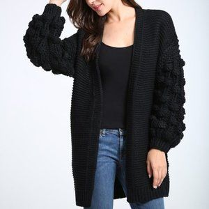 NWT Black Open Long Cardigan Ruffle Sleeves M